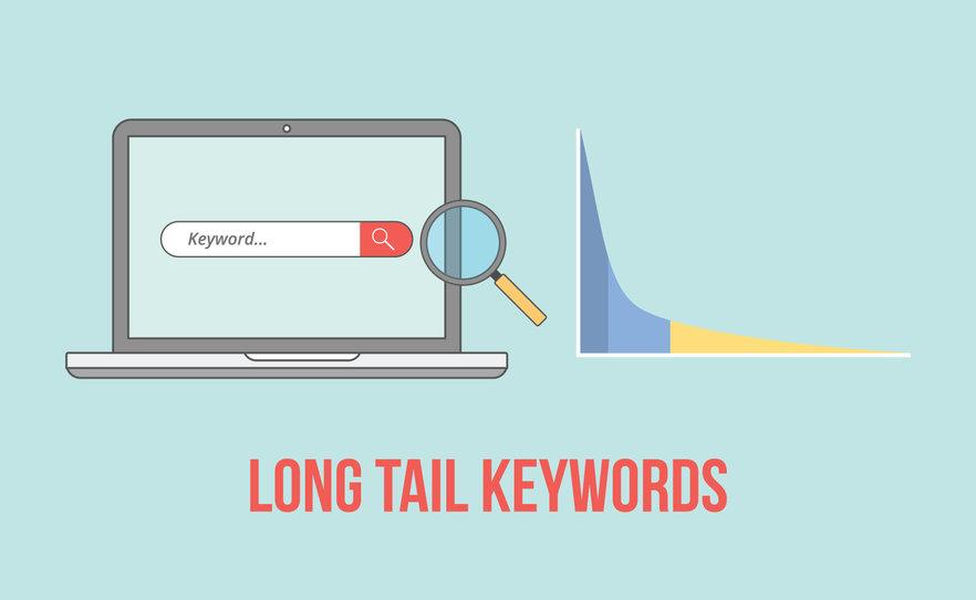 Laptop, wykres i napis Long Tail Keywords