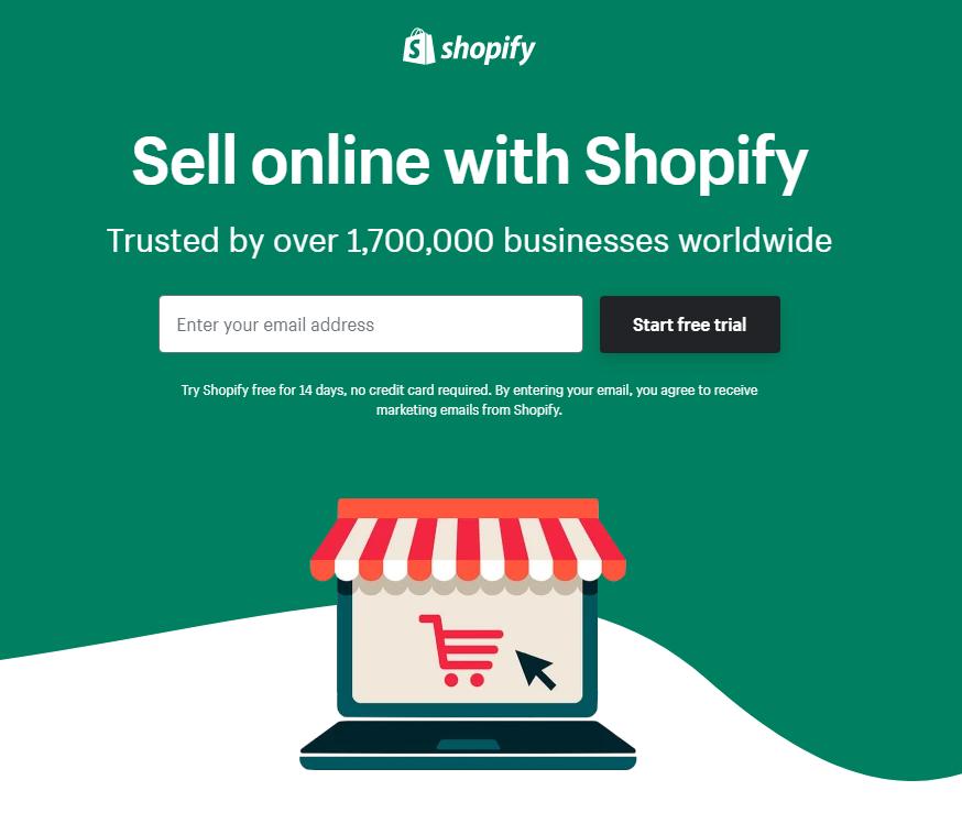 Zrzut ekaranu z www.shopify.com